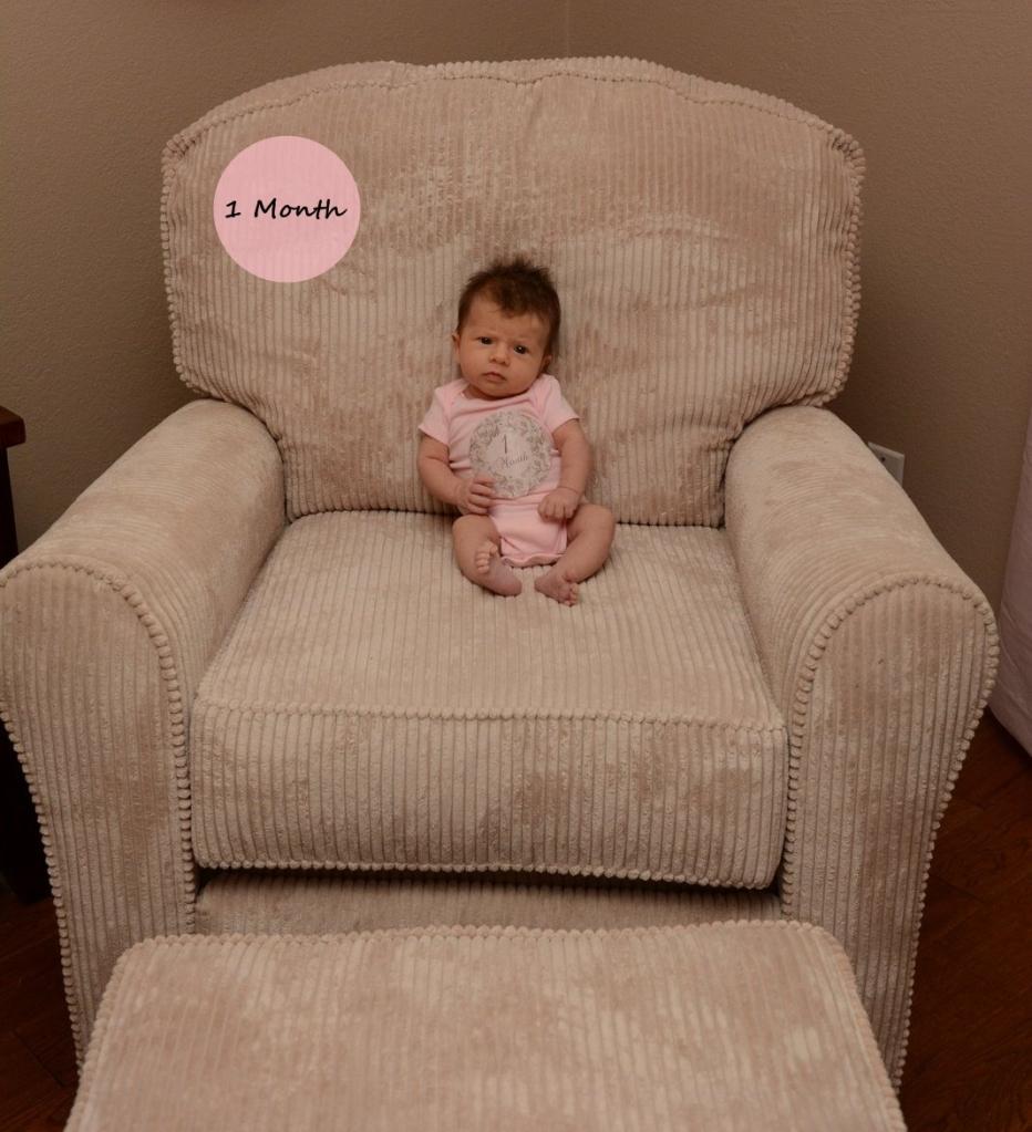 Josie 1 Month Pink Onesie 2-1
